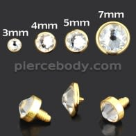 Flat Stone PVD Anodized Dermal Anchor Tops