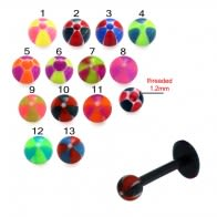 UV Labret With UV Hand Painted Fancy Thread Ball