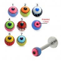 Mix Color Threaded SS Labret UV Fancy Eye Balls