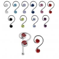 925 Sterling Silver Double Jeweled Curly Design Nose Bone Stud in Box