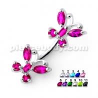 Twin Butterflies Spinal belly button jewelry