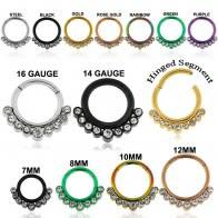 9 CZ Stones Paved Hinged Segment Ring