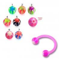 Pink Bio Bar UV Horseshoe Body Circular Barbells