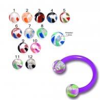 Purple UV Circular Barbell with Mix UV Balls