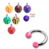 SS Circular Barbells with 3mm Multi Color Print UV Balls