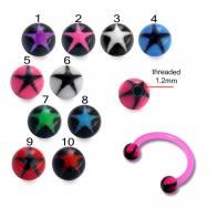 Acrylic Circular Barbells with UV Star Print Balls