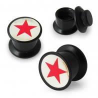 Red Star Logo Screw Fit Ear Flesh Tunnel