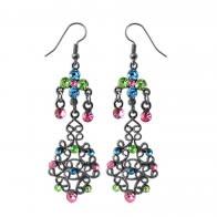 Multi Crystal Dangling Costume Earring