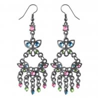 Multi Rhinestone Dangling Costume Earring