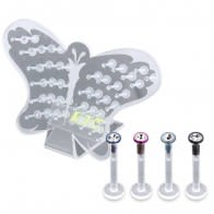 Bio Madonna Labret with Top CZ Stone 44pcs in a Butterfly Display