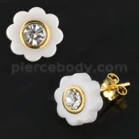 White CERAMIC Flower with CZ Gold Platted Sterling Silver Ear Stud