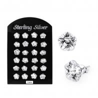7MM CZ Flower Ear Stud in 12 pair Tray