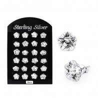 8MM CZ Flower Ear Stud in 12 pair Tray