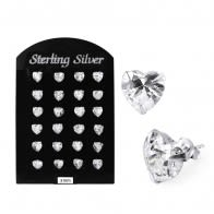 3MM CZ Heart Ear Stud in 12 pair Tray
