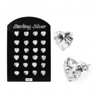 4MM CZ Heart Ear Stud in 12 pair Tray
