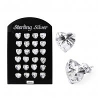 6MM CZ Heart Ear Stud in 12 pair Tray