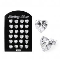 8MM CZ Heart Ear Stud in 12 pair Tray