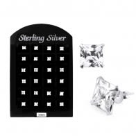3MM CZ Square Ear Stud in 12 pair Tray