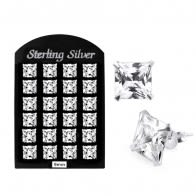 9MM CZ Square Ear Stud in 12 pair Tray