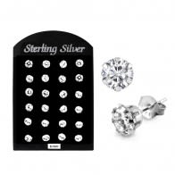 6MM CZ Round Ear Stud in 12 pair Tray