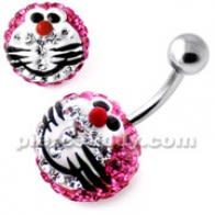 Multi Crystal stone Pink Doraemon Navel Ring