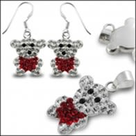 Red Crystal stone Teddy Bear SET Jewelry