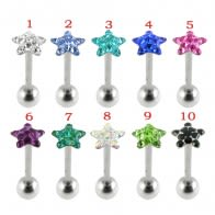 SS Tongue Barbell With Star Crystal Top