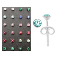3mm Rhinestone Ear Studs in a 12 pair Tray