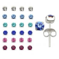 4mm Rhinestone Stone Claw Set Ear Studs in a 12 pair Display