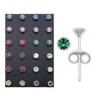 3mm Rhinestone Stone Flower Set Ear Studs in a 12 pair Tray