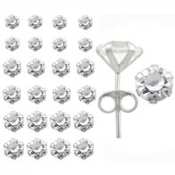 925 Sterling Silver Mix Glass Stone Ear Studs in a 12 pair Tray