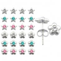 Plain Jeweled Flower Ear Studs in a 12 pair Tray HOT12ES041