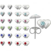 Plain Jeweled Ear Studs in a 12 pair Tray HOT12ES042