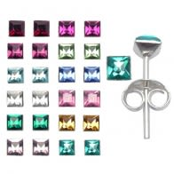 3mm Birth Stone Princess Cut SIlver Ear Studs in a 12 pair Tray HOT12ES047