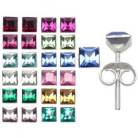4mm SquareShape Birth Stone Earring in a 12 pair Tray