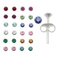 2mm Birth Stone Ear Studs in 12 pair Tray