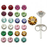 4mm Birth Stone Ear Piercing Jewelry in a 12 pair For 12 Months