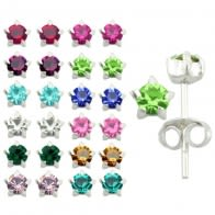 Mix Color 3mm Birth Stone Silver Earring Stud in a 12 pair Tray HOT12ES054
