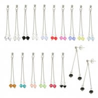 Crystal Beads on Silver Bars Earring