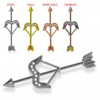 Anodized Arrow Helix Earring with CZ Dazzling Bow Industrial Barbell Piercing