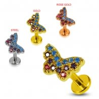 Prong set Multi Color CZ with Butterfly Tragus Piercing Ear Stud