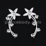 925 Sterling Silver Flower with Long Leaf CZ Stone Ear Pin Stud