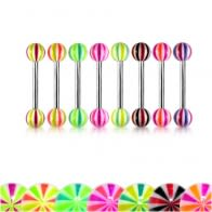 Mix Color Ball 316L Surgical Steel Tongue Nipple Barbell Ring