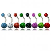 Assorted Fancy Cool Colors UV Balls Banana Bar Navel Ring