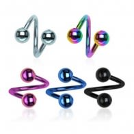 316L Surgical steel Anodised Twisted barbell