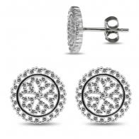 925 Sterling Silver Rhodium Plated Round Design Floral in center CZ Jeweled Ear Stud