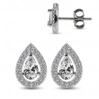 925 Sterling Silver Rhodium Plated  Pear Shape Clear CZ Jeweled Ear Stud