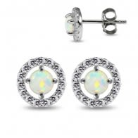 925 Sterling Silver Rhodium Plated Round Design Rainbow Opal in center Jeweled Ear Stud