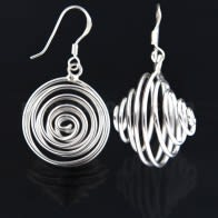 925 Sterling Silver Spinning Coil Fish Hook Earring