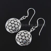 925 Sterling Silver Flower of Life Ear Ring